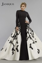 Janique - Long Sleeve Congregated A-Line Open overlay Gown W1632