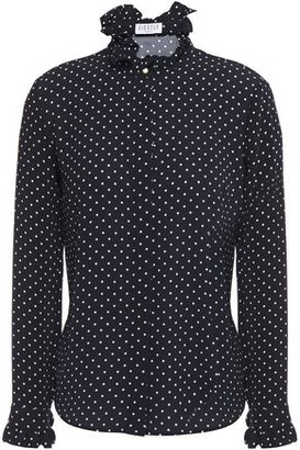 Claudie Pierlot Ruffle-trimmed Polka-dot Crepe Blouse