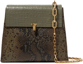 THE VOLON Po Day Croc-effect, Snake-effect And Textured-leather Shoulder Bag