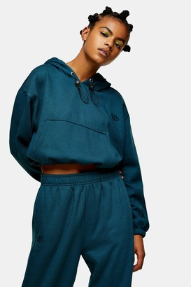 Topshop Womens Teal International Slogan Hoodie - Teal