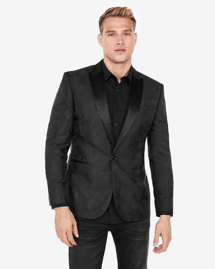 Express Slim Black Floral Jacquard Tuxedo Jacket