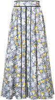 Carolina Herrera floral etched midi skirt