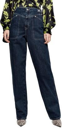 Topshop V-Panel Straight Leg Jeans