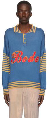 Bode Blue and Yellow Namesake Three-Button Sweater
