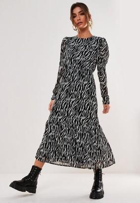 Missguided Black Zebra Puff Sleeve Midi Smock Dress