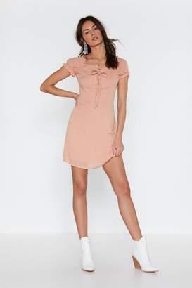 Nasty Gal Womens I'M Hot Puff Lace-Up Mini Dress - Orange - 6, Orange