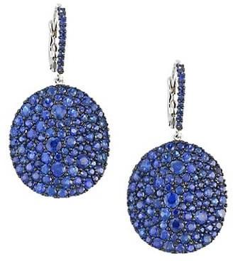 Etho Maria Vibrant 18K White Gold & Blue Sapphire Disc Earrings