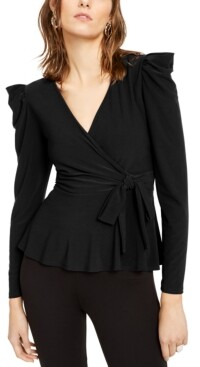 INC International Concepts Inc Petite Puff-Shoulder Wrap Top, Created for Macy's