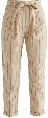 Paisie Botany Striped Peg Leg Trousers In Sand & Brown