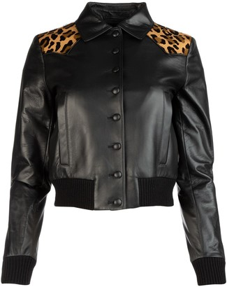 Miu Miu Animal Print Biker Jacket