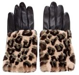 Louis Vuitton Fur-Trimmed Leather Gloves