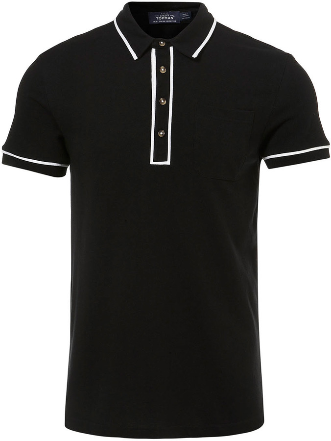 Topman Black Tipped Polo Shirt