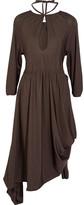Vetements Asymmetric Stretch-jersey Midi Dress - Dark brown