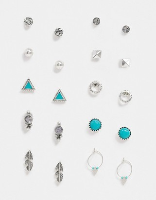 Accessorize pack of 10 stud set in silver