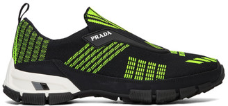 Prada Black and Green Crossection Slip-On Sneakers