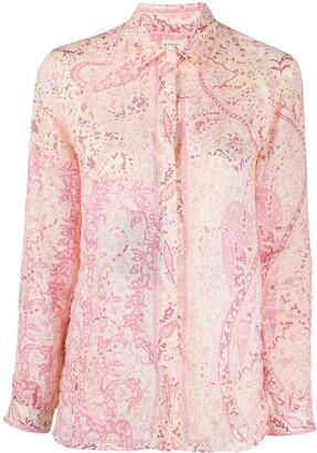 Etro Long Sleeve Floral Print Shirt