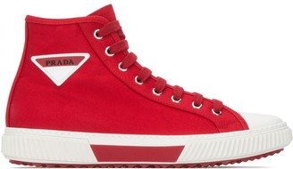 Prada Logo Plaque High-Top Sneakers