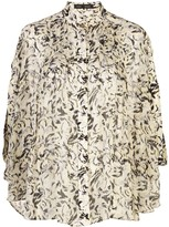 Proenza Schouler printed cape sleeves blouse
