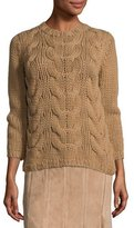 Lafayette 148 New York Hand-Knit Cashmere Cable Sweater, Teak