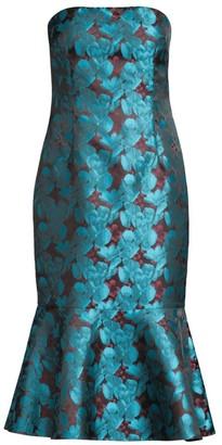 Aidan Mattox Strapless Jacquard Floral Trumpet Dress