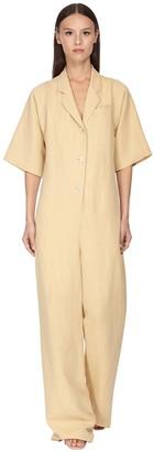 Salvatore Ferragamo Buttoned Rayon & Linen Jumpsuit