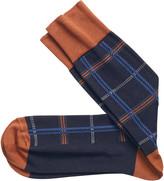 Johnston & Murphy Multi-Textured Plaid Socks
