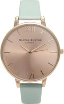 Olivia Burton OB15BD75 big dial stainless steel and leather watch