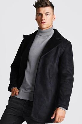 boohoo Mens Black Borg Collar Faux Suede Jacket, Black