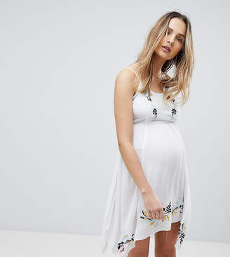Asos DESIGN Maternity Floral Cross Stitch Embroidered Strappy Beach Sundress-White