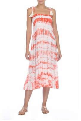 BOHO ME Smocked Tie Dye Midi Dress