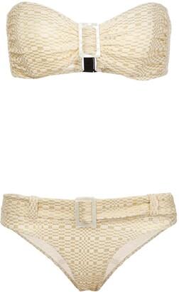 Lisa Marie Fernandez buckled bandeau bikini set