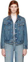 MM6 MAISON MARGIELA Blue Denim Frayed Back Detail Jacket