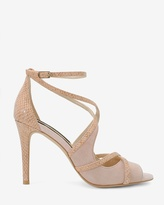 White House Black Market Suede & Exotic-Print Strappy Heels