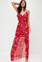 Missguided Red Floral Printed Maxi Dress
