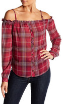 Jolt Plaid Button Cold Shoulder Blouse
