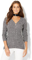 New York & Co. Zip-Accent Hi-Lo Tunic Sweater - Marled