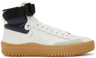 Chloé White and Navy Franckie High-Top Sneakers