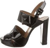 Hermes Stud-Embellished Peep-Toe Pumps