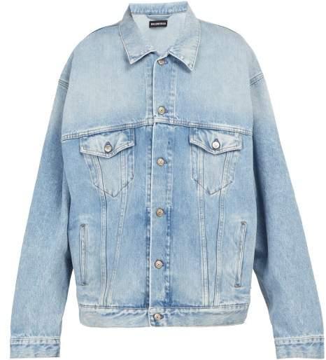 Balenciaga Embroidered Oversized Denim Jacket - Mens - Blue