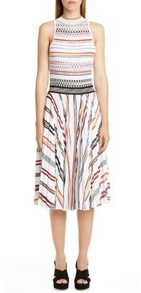 Missoni High Neck Sleeveless Pleated Dress