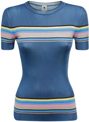 M Missoni Striped Knit Viscose Blend Top