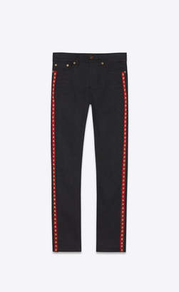 Saint Laurent Skinny Fit Jeans Skinny Jeans With Star Bands In Stretch Denim Used Black Used Black 25