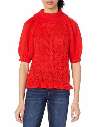 For Love & Lemons Women's Francois Puff Sleeve Pointelle Sweater