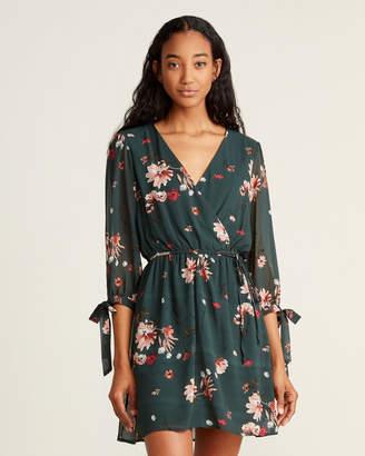 As U Wish Tie-Sleeve Floral Print Fit & Flare Dress