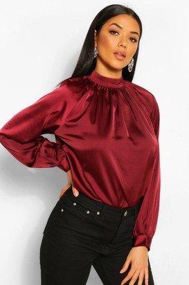 boohoo Woven Gathered High Neck Blouse