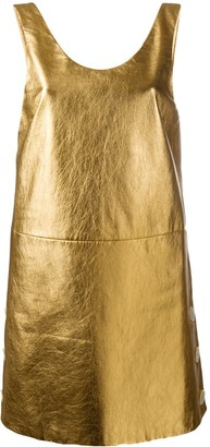 Prada Metallic Open Back Sleeveless Dress