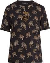 Dolce & Gabbana Heart-appliqué leopard-print cotton T-shirt
