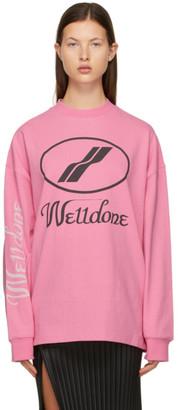 we11done Pink Logo Long Sleeve T-Shirt