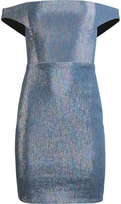 Mason by Michelle Mason Off-Shoulder Metallic Sheen Dress