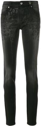 Versace Leopard Crystal-Embellished Skinny Jeans
